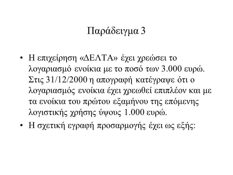 Παράδειγμα 3 Η επιχείρηση «ΔΕΛΤΑ» έχει χρεώσει το λογαριασμό ενοίκια με το ποσό των 3.000 ευρώ.