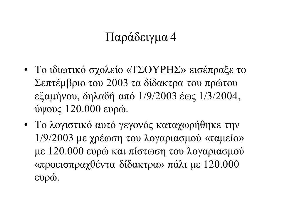 Παράδειγμα 4 Το ιδιωτικό σχολείο «ΤΣΟΥΡΗΣ» εισέπραξε το Σεπτέμβριο του 2003 τα δίδακτρα του πρώτου εξαμήνου, δηλαδή από 1/9/2003 έως 1/3/2004, ύψους 120.000 ευρώ.