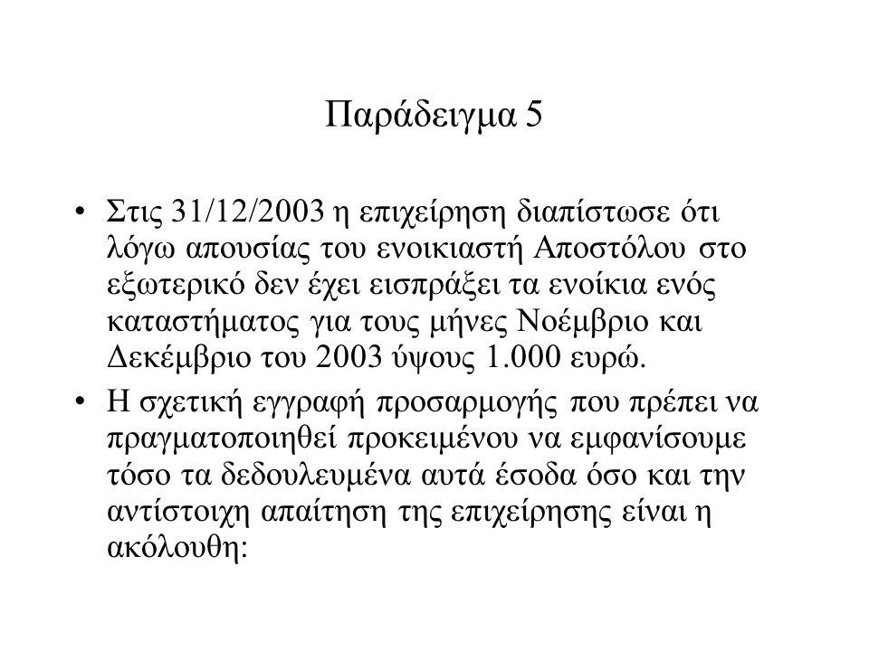 Παράδειγμα 5 Στις 31/12/2003 η επιχείρηση διαπίστωσε ότι λόγω απουσίας του ενοικιαστή Αποστόλου στο εξωτερικό δεν έχει εισπράξει τα ενοίκια ενός καταστήματος για τους μήνες Νοέμβριο και Δεκέμβριο του 2003 ύψους 1.000 ευρώ.