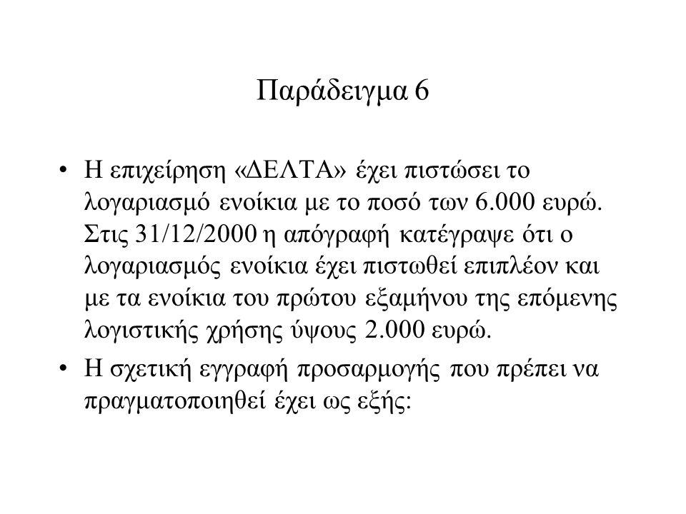 Παράδειγμα 6 Η επιχείρηση «ΔΕΛΤΑ» έχει πιστώσει το λογαριασμό ενοίκια με το ποσό των 6.000 ευρώ.
