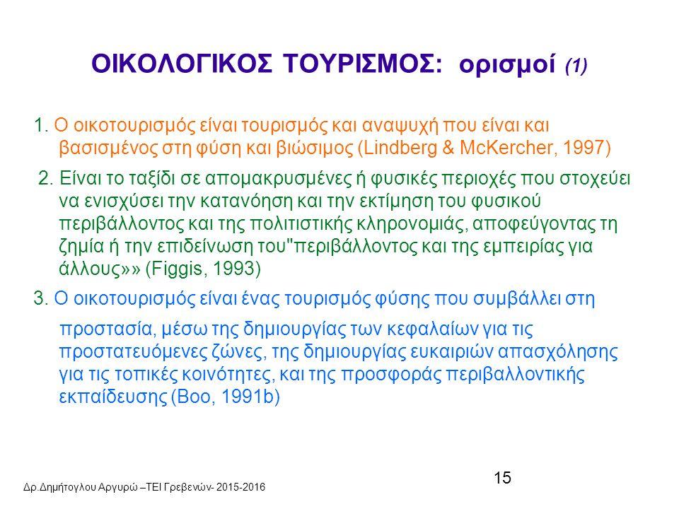 15 ΟΙΚΟΛΟΓΙΚΟΣ ΤΟΥΡΙΣΜΟΣ: ορισμοί (1) 1.