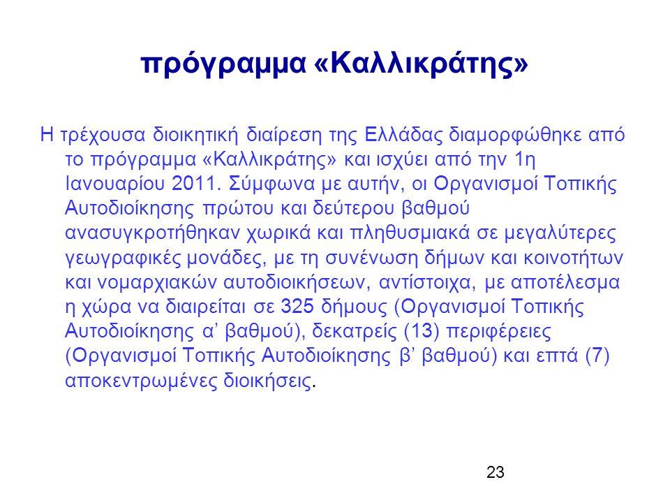 23 πρόγραµµα «Καλλικράτης» Η τρέχουσα διοικητική διαίρεση της Ελλάδας διαµορφώθηκε από το πρόγραµµα «Καλλικράτης» και ισχύει από την 1η Ιανουαρίου 2011.