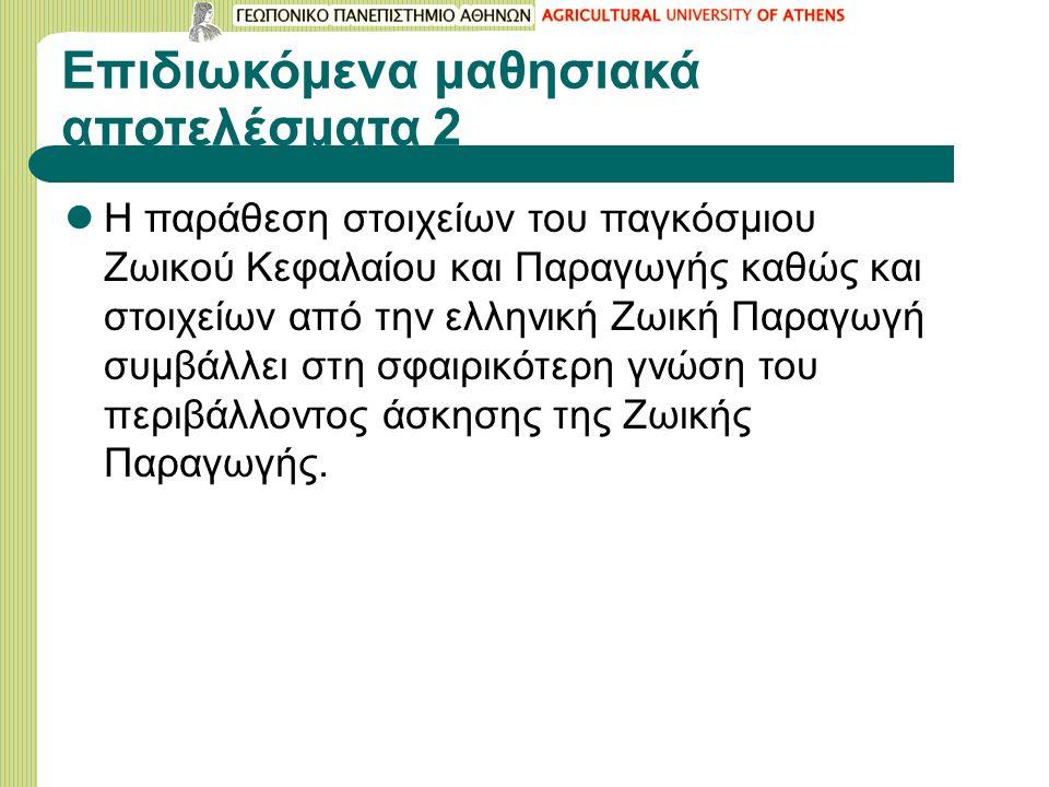 Επιδιωκόμενα μαθησιακά αποτελέσματα 2 Η παράθεση στοιχείων του παγκόσμιου Ζωικού Κεφαλαίου και Παραγωγής καθώς και στοιχείων από την ελληνική Ζωική Παραγωγή συμβάλλει στη σφαιρικότερη γνώση του περιβάλλοντος άσκησης της Ζωικής Παραγωγής.