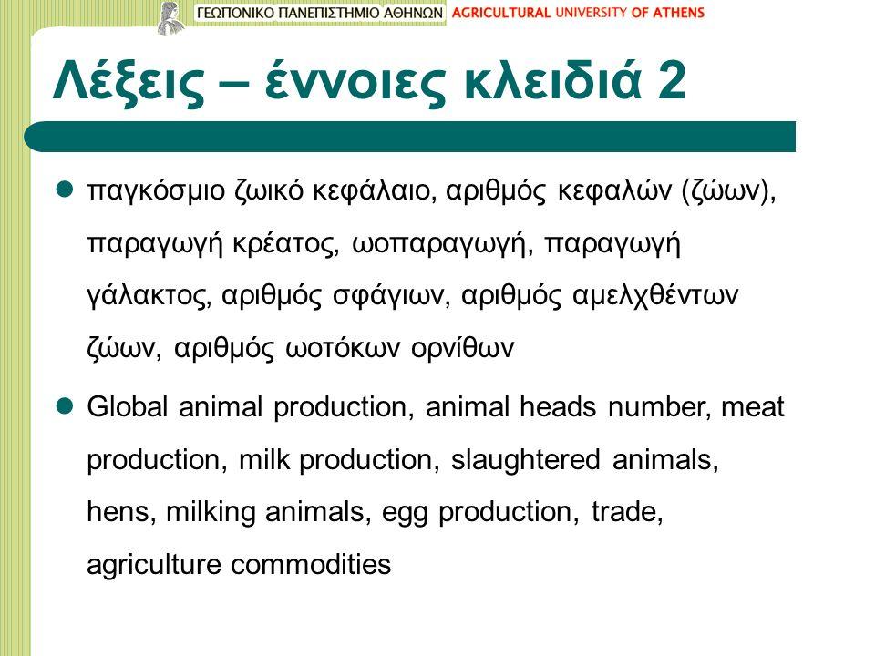 Λέξεις – έννοιες κλειδιά 2 παγκόσμιο ζωικό κεφάλαιο, αριθμός κεφαλών (ζώων), παραγωγή κρέατος, ωοπαραγωγή, παραγωγή γάλακτος, αριθμός σφάγιων, αριθμός αμελχθέντων ζώων, αριθμός ωοτόκων ορνίθων Global animal production, animal heads number, meat production, milk production, slaughtered animals, hens, milking animals, egg production, trade, agriculture commodities