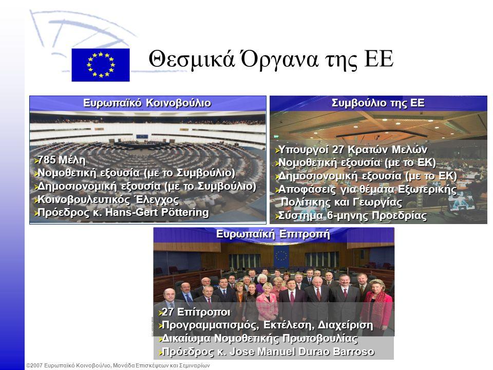 ©2007 Ευρωπαϊκό Κοινοβούλιο, Μονάδα Επισκέψεων και Σεμιναρίων Ευρωπαϊκή Επιτροπή Θεσμικά Όργανα της ΕΕ  27 Επίτροποι  Προγραμματισμός, Εκτέλεση, Διαχείριση  Δικαίωμα Νομοθετικής Πρωτοβουλίας  Πρόεδρος κ.