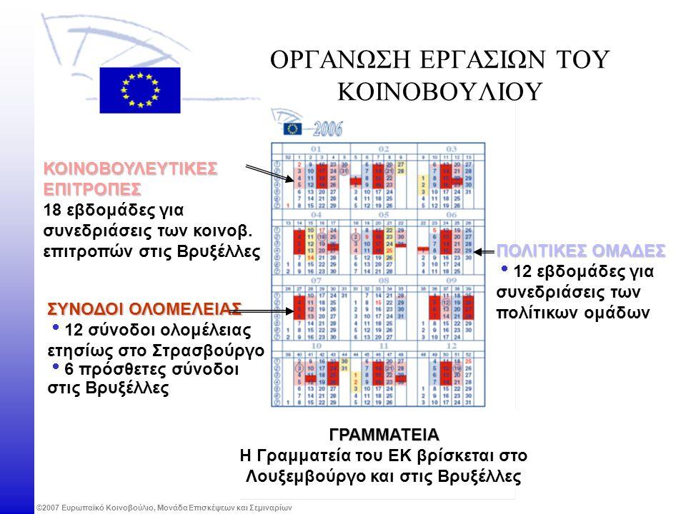©2007 Ευρωπαϊκό Κοινοβούλιο, Μονάδα Επισκέψεων και Σεμιναρίων ΟΡΓΑΝΩΣΗ ΕΡΓΑΣΙΩΝ ΤΟΥ ΚΟΙΝΟΒΟΥΛΙΟΥ ΚΟΙΝΟΒΟΥΛΕΥΤΙΚΕΣ ΕΠΙΤΡΟΠΕΣ 18 εβδομάδες για συνεδριάσεις των κοινοβ.