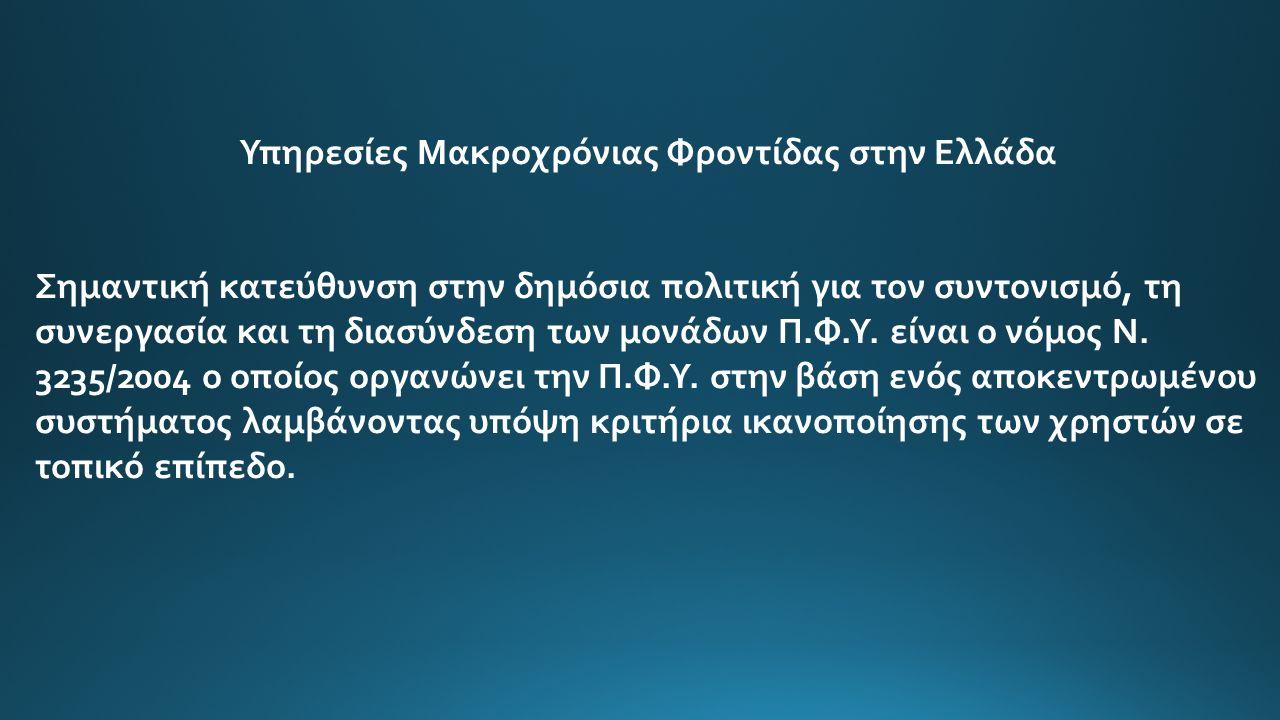Υπηρεσίες Μακροχρόνιας Φροντίδας στην Ελλάδα Οι Δήμοι συστήνουν και λειτουργούν νομικά πρόσωπα όπως Παιδικούς Σταθμούς και Βρεφονηπιακούς Σταθμούς, Βρεφοκομεία, Ορφανοτροφεία, Κέντρα Ανοικτής Περίθαλψης και Ημερήσιας Φροντίδας, Δημοτικά Ιατρεία ιδίως για τους Ανασφάλιστους.