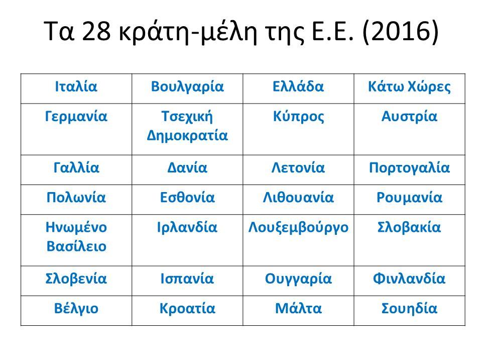 Τα 28 κράτη-μέλη της Ε.Ε.