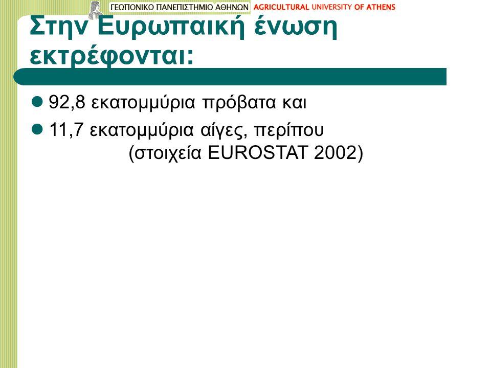 Στην Ευρωπαική ένωση εκτρέφονται: 92,8 εκατομμύρια πρόβατα και 11,7 εκατομμύρια αίγες, περίπου (στοιχεία EUROSTAT 2002)