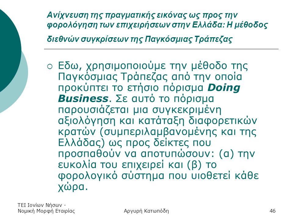 ΤΕΙ Ιονίων Νήσων - Νομική Μορφή ΕταιρίαςΑργυρή Κατωπόδη46 Ανίχνευση της πραγματικής εικόνας ως προς την φορολόγηση των επιχειρήσεων στην Ελλάδα: Η μέθοδος διεθνών συγκρίσεων της Παγκόσμιας Τράπεζας  Εδω, χρησιμοποιούμε την μέθοδο της Παγκόσμιας Τράπεζας από την οποία προκύπτει το ετήσιο πόρισμα Doing Business.