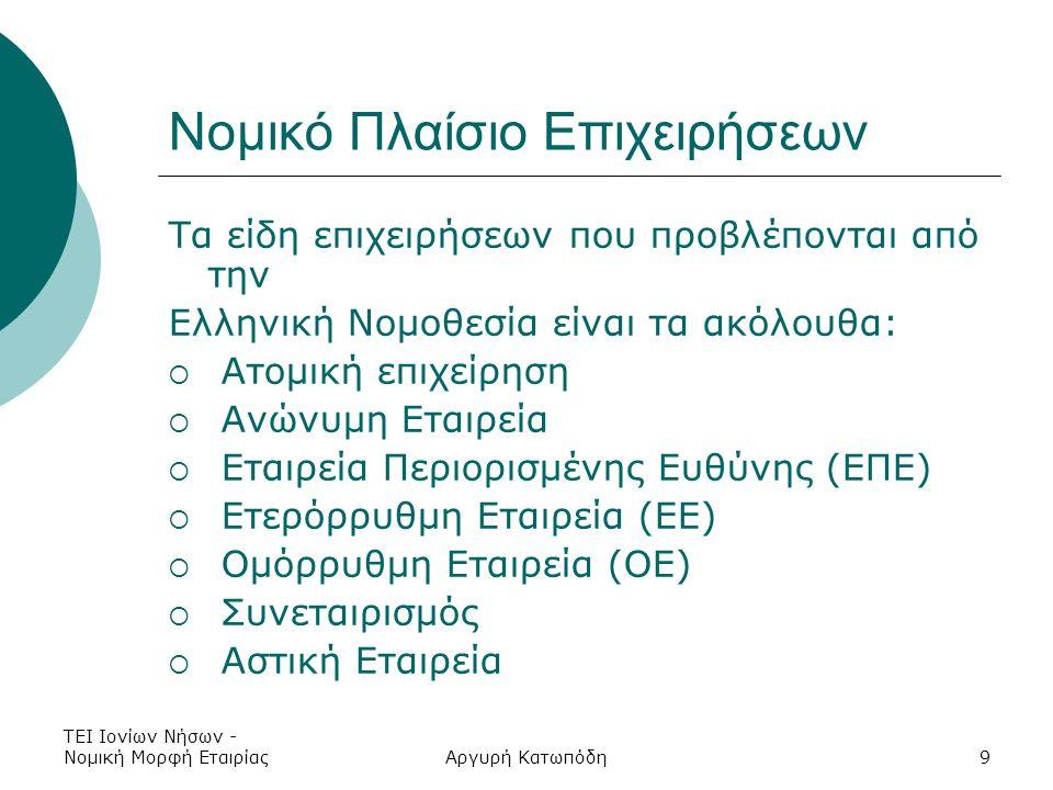 ΤΕΙ Ιονίων Νήσων - Νομική Μορφή ΕταιρίαςΑργυρή Κατωπόδη9 Νομικό Πλαίσιο Επιχειρήσεων Τα είδη επιχειρήσεων που προβλέπονται από την Ελληνική Νομοθεσία είναι τα ακόλουθα:  Ατομική επιχείρηση  Ανώνυμη Εταιρεία  Εταιρεία Περιορισμένης Ευθύνης (ΕΠΕ)  Ετερόρρυθμη Εταιρεία (ΕΕ)  Ομόρρυθμη Εταιρεία (ΟΕ)  Συνεταιρισμός  Αστική Εταιρεία