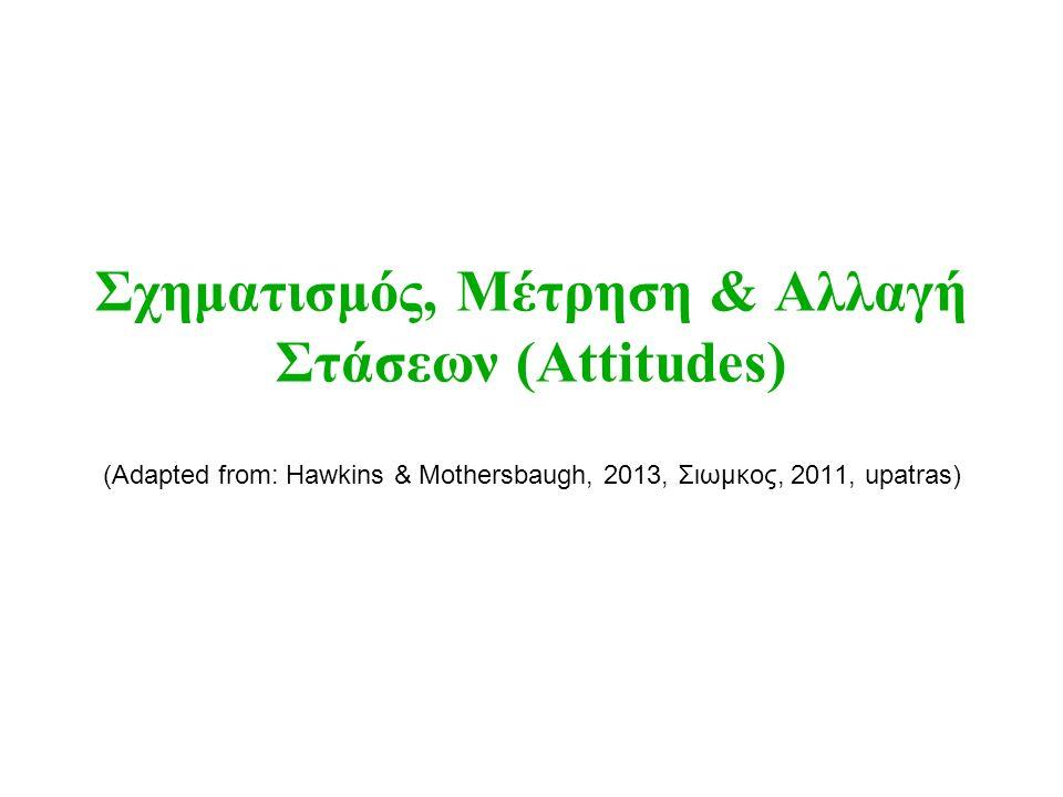 Σχηματισμός, Μέτρηση & Αλλαγή Στάσεων (Attitudes) (Adapted from: Hawkins & Mothersbaugh, 2013, Σιωμκος, 2011, upatras)