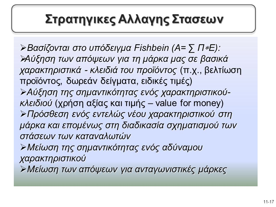  Βασίζονται στο υπόδειγμα Fishbein (A= ∑ Π  Ε):  Αύξηση των απόψεων για τη μάρκα μας σε βασικά χαρακτηριστικά - κλειδιά του προϊόντος  Αύξηση των απόψεων για τη μάρκα μας σε βασικά χαρακτηριστικά - κλειδιά του προϊόντος (π.χ., βελτίωση προϊόντος, δωρεάν δείγματα, ειδικές τιμές)  Αύξηση της σημαντικότητας ενός χαρακτηριστικού- κλειδιού  Αύξηση της σημαντικότητας ενός χαρακτηριστικού- κλειδιού (χρήση αξίας και τιμής – value for money)  Πρόσθεση ενός εντελώς νέου χαρακτηριστικού στη μάρκα και επομένως στη διαδικασία σχηματισμού των στάσεων των καταναλωτών  Μείωση της σημαντικότητας ενός αδύναμου χαρακτηριστικού  Μείωση των απόψεων για ανταγωνιστικές μάρκες 11-17 Στρατηγικες Αλλαγης Στασεων