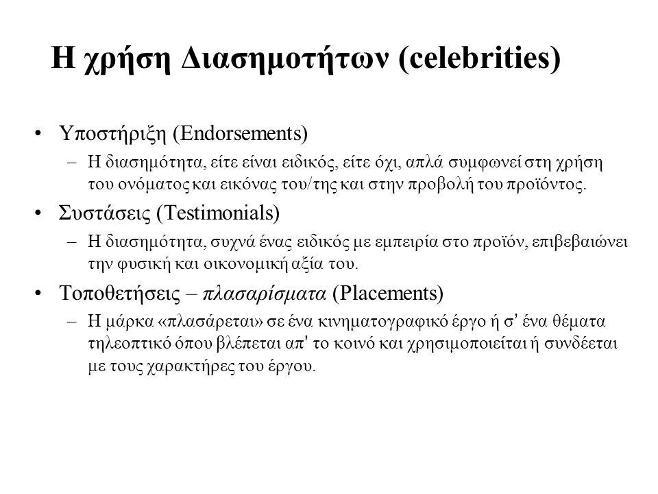 22 Η χρήση Διασημοτήτων (celebrities) Υποστήριξη (Endorsements) –Η διασημότητα, είτε είναι ειδικός, είτε όχι, απλά συμφωνεί στη χρήση του ονόματος και εικόνας του/της και στην προβολή του προϊόντος.
