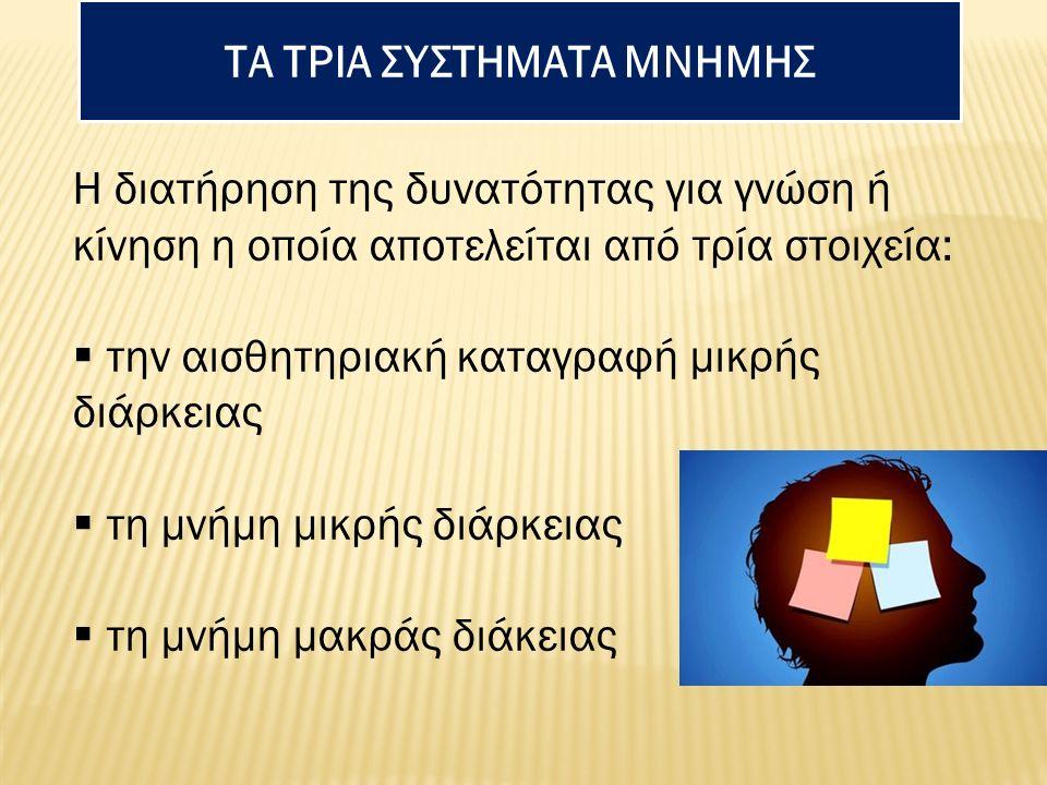 ΤΑ ΤΡΙΑ ΣΥΣΤΗΜΑΤΑ ΜΝΗΜΗΣ Η διατήρηση της δυνατότητας για γνώση ή κίνηση η οποία αποτελείται από τρία στοιχεία:  την αισθητηριακή καταγραφή μικρής διά