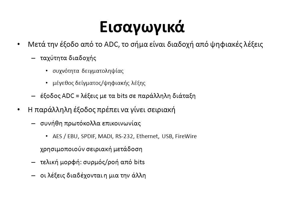 Εισαγωγικά Μετά την έξοδο από το ADC, το σήμα είναι διαδοχή από ψηφιακές λέξεις – ταχύτητα διαδοχής συχνότητα δειγματοληψίας μέγεθος δείγματος/ψηφιακής λέξης – έξοδος ADC = λέξεις με τα bits σε παράλληλη διάταξη Η παράλληλη έξοδος πρέπει να γίνει σειριακή – συνήθη πρωτόκολλα επικοινωνίας AES / EBU, SPDIF, MADI, RS-232, Ethernet, USB, FireWire χρησιμοποιούν σειριακή μετάδοση – τελική μορφή: συρμός/ροή από bits – οι λέξεις διαδέχονται η μια την άλλη
