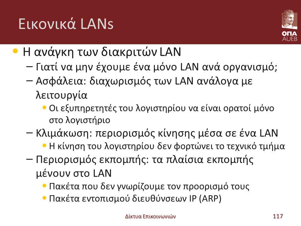 Εικονικά LANs Η ανάγκη των διακριτών LAN – Γιατί να μην έχουμε ένα μόνο LAN ανά οργανισμό; – Ασφάλεια: διαχωρισμός των LAN ανάλογα με λειτουργία Οι εξυπηρετητές του λογιστηρίου να είναι ορατοί μόνο στο λογιστήριο – Κλιμάκωση: περιορισμός κίνησης μέσα σε ένα LAN Η κίνηση του λογιστηρίου δεν φορτώνει το τεχνικό τμήμα – Περιορισμός εκπομπής: τα πλαίσια εκπομπής μένουν στο LAN Πακέτα που δεν γνωρίζουμε τον προορισμό τους Πακέτα εντοπισμού διευθύνσεων IP (ARP) Δίκτυα Επικοινωνιών 117