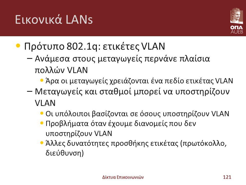 Εικονικά LANs Πρότυπο 802.1q: ετικέτες VLAN – Ανάμεσα στους μεταγωγείς περνάνε πλαίσια πολλών VLAN Άρα οι μεταγωγείς χρειάζονται ένα πεδίο ετικέτας VLAN – Μεταγωγείς και σταθμοί μπορεί να υποστηρίζουν VLAN Οι υπόλοιποι βασίζονται σε όσους υποστηρίζουν VLAN Προβλήματα όταν έχουμε διανομείς που δεν υποστηρίζουν VLAN Άλλες δυνατότητες προσθήκης ετικέτας (πρωτόκολλο, διεύθυνση) Δίκτυα Επικοινωνιών 121
