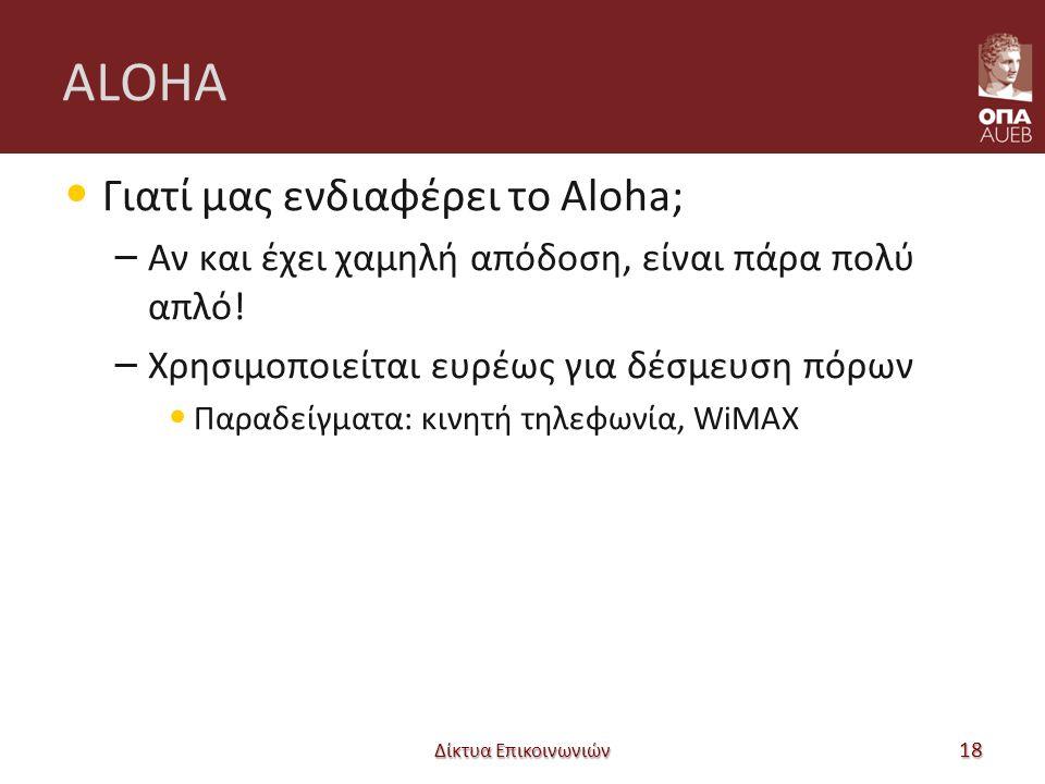 ALOHA Γιατί μας ενδιαφέρει το Aloha; – Αν και έχει χαμηλή απόδοση, είναι πάρα πολύ απλό! – Χρησιμοποιείται ευρέως για δέσμευση πόρων Παραδείγματα: κιν