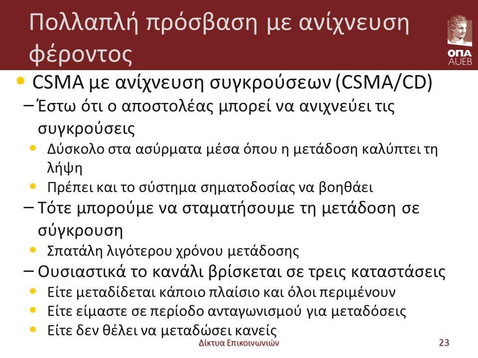 Πολλαπλή πρόσβαση με ανίχνευση φέροντος CSMA με ανίχνευση συγκρούσεων (CSMA/CD) – Έστω ότι ο αποστολέας μπορεί να ανιχνεύει τις συγκρούσεις Δύσκολο στ