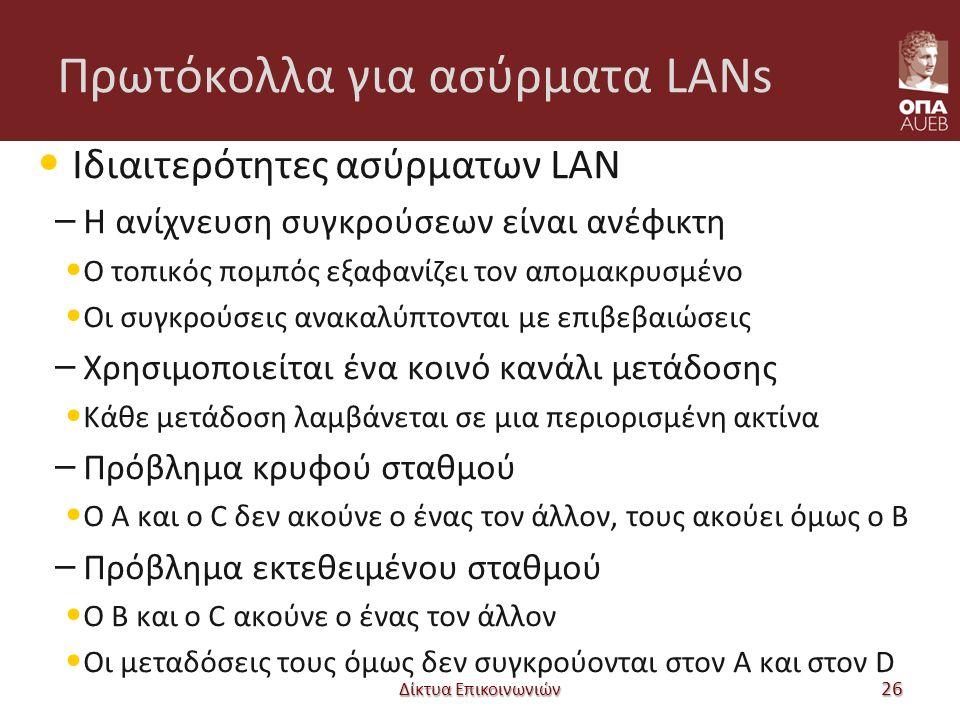 Πρωτόκολλα για ασύρματα LANs Ιδιαιτερότητες ασύρματων LAN – Η ανίχνευση συγκρούσεων είναι ανέφικτη Ο τοπικός πομπός εξαφανίζει τον απομακρυσμένο Οι συγκρούσεις ανακαλύπτονται με επιβεβαιώσεις – Χρησιμοποιείται ένα κοινό κανάλι μετάδοσης Κάθε μετάδοση λαμβάνεται σε μια περιορισμένη ακτίνα – Πρόβλημα κρυφού σταθμού Ο A και ο C δεν ακούνε ο ένας τον άλλον, τους ακούει όμως ο B – Πρόβλημα εκτεθειμένου σταθμού Ο B και ο C ακούνε ο ένας τον άλλον Οι μεταδόσεις τους όμως δεν συγκρούονται στον A και στον D Δίκτυα Επικοινωνιών 26