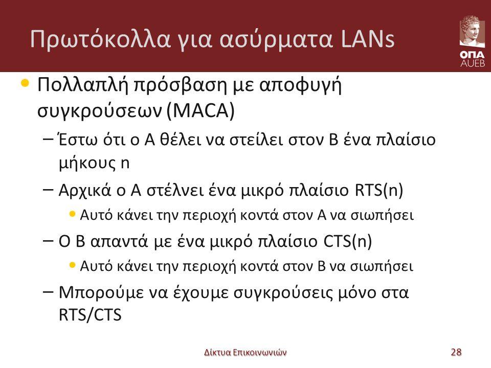 Πρωτόκολλα για ασύρματα LANs Πολλαπλή πρόσβαση με αποφυγή συγκρούσεων (MACA) – Έστω ότι ο A θέλει να στείλει στον B ένα πλαίσιο μήκους n – Αρχικά ο A