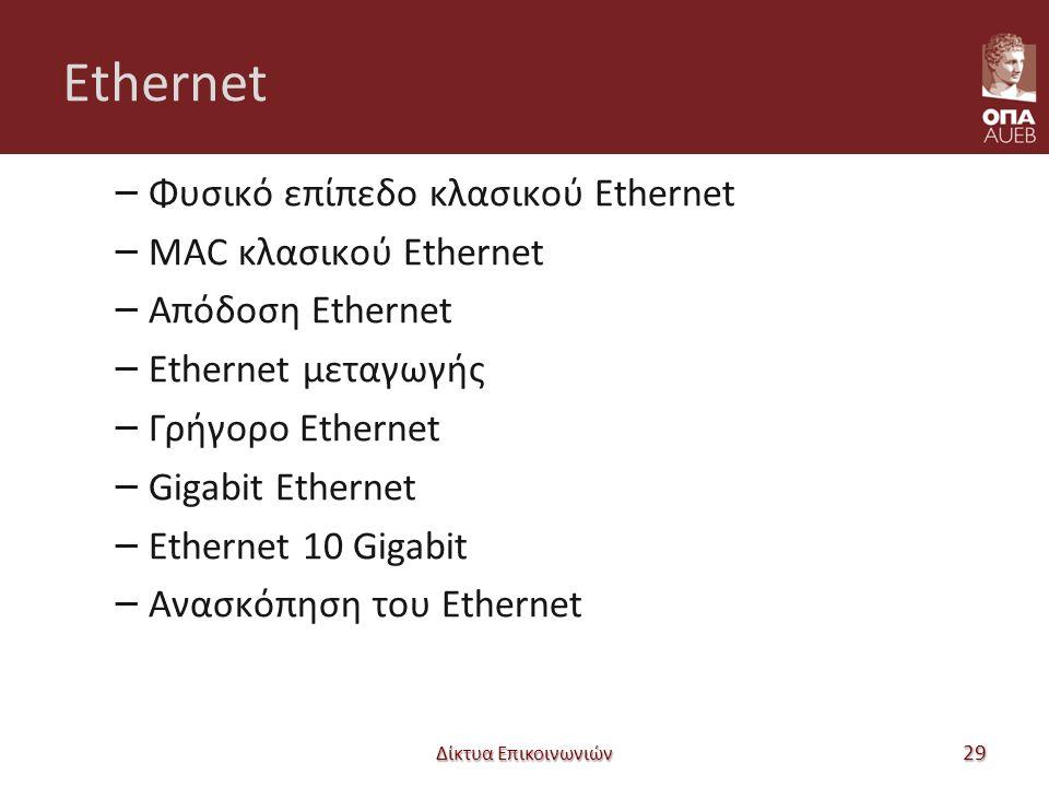Ethernet – Φυσικό επίπεδο κλασικού Ethernet – MAC κλασικού Ethernet – Απόδοση Ethernet – Ethernet μεταγωγής – Γρήγορο Ethernet – Gigabit Ethernet – Et