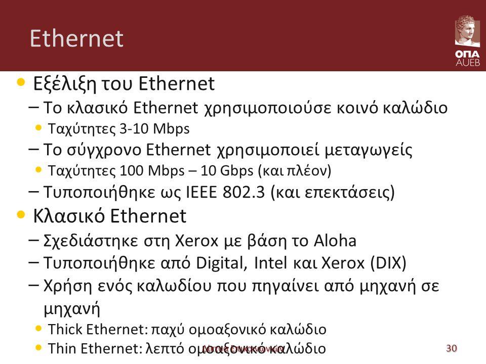 Ethernet Εξέλιξη του Ethernet – Το κλασικό Ethernet χρησιμοποιούσε κοινό καλώδιο Ταχύτητες 3-10 Mbps – Το σύγχρονο Ethernet χρησιμοποιεί μεταγωγείς Ταχύτητες 100 Mbps – 10 Gbps (και πλέον) – Τυποποιήθηκε ως IEEE 802.3 (και επεκτάσεις) Κλασικό Ethernet – Σχεδιάστηκε στη Xerox με βάση το Aloha – Τυποποιήθηκε από Digital, Intel και Xerox (DIX) – Χρήση ενός καλωδίου που πηγαίνει από μηχανή σε μηχανή Thick Ethernet: παχύ ομοαξονικό καλώδιο Thin Ethernet: λεπτό ομοαξονικό καλώδιο Δίκτυα Επικοινωνιών 30