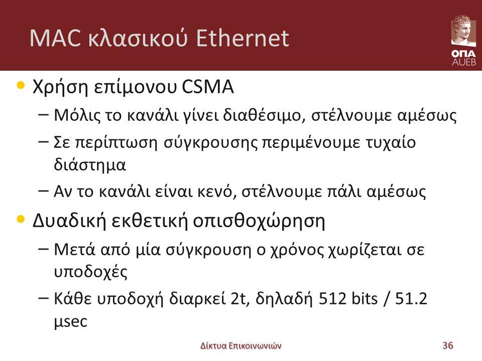 MAC κλασικού Ethernet Χρήση επίμονου CSMA – Μόλις το κανάλι γίνει διαθέσιμο, στέλνουμε αμέσως – Σε περίπτωση σύγκρουσης περιμένουμε τυχαίο διάστημα – Αν το κανάλι είναι κενό, στέλνουμε πάλι αμέσως Δυαδική εκθετική οπισθοχώρηση – Μετά από μία σύγκρουση ο χρόνος χωρίζεται σε υποδοχές – Κάθε υποδοχή διαρκεί 2t, δηλαδή 512 bits / 51.2 μsec Δίκτυα Επικοινωνιών 36
