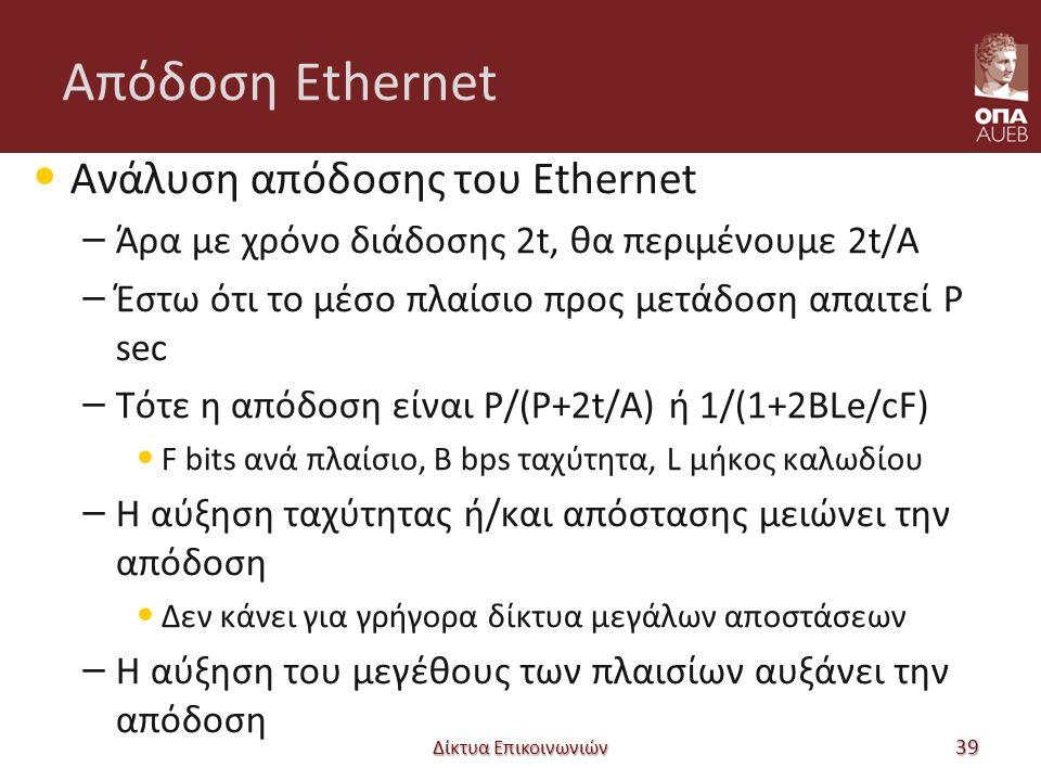 Απόδοση Ethernet Ανάλυση απόδοσης του Ethernet – Άρα με χρόνο διάδοσης 2t, θα περιμένουμε 2t/Α – Έστω ότι το μέσο πλαίσιο προς μετάδοση απαιτεί P sec – Τότε η απόδοση είναι P/(P+2t/A) ή 1/(1+2BLe/cF) F bits ανά πλαίσιο, B bps ταχύτητα, L μήκος καλωδίου – Η αύξηση ταχύτητας ή/και απόστασης μειώνει την απόδοση Δεν κάνει για γρήγορα δίκτυα μεγάλων αποστάσεων – Η αύξηση του μεγέθους των πλαισίων αυξάνει την απόδοση Δίκτυα Επικοινωνιών 39