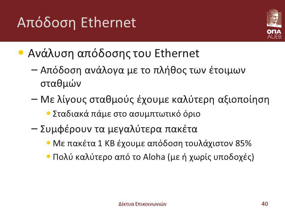 Απόδοση Ethernet Ανάλυση απόδοσης του Ethernet – Απόδοση ανάλογα με το πλήθος των έτοιμων σταθμών – Με λίγους σταθμούς έχουμε καλύτερη αξιοποίηση Σταδιακά πάμε στο ασυμπτωτικό όριο – Συμφέρουν τα μεγαλύτερα πακέτα Με πακέτα 1 KB έχουμε απόδοση τουλάχιστον 85% Πολύ καλύτερο από το Aloha (με ή χωρίς υποδοχές) Δίκτυα Επικοινωνιών 40