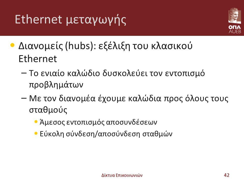 Ethernet μεταγωγής Διανομείς (hubs): εξέλιξη του κλασικού Ethernet – Το ενιαίο καλώδιο δυσκολεύει τον εντοπισμό προβλημάτων – Με τον διανομέα έχουμε καλώδια προς όλους τους σταθμούς Άμεσος εντοπισμός αποσυνδέσεων Εύκολη σύνδεση/αποσύνδεση σταθμών Δίκτυα Επικοινωνιών 42