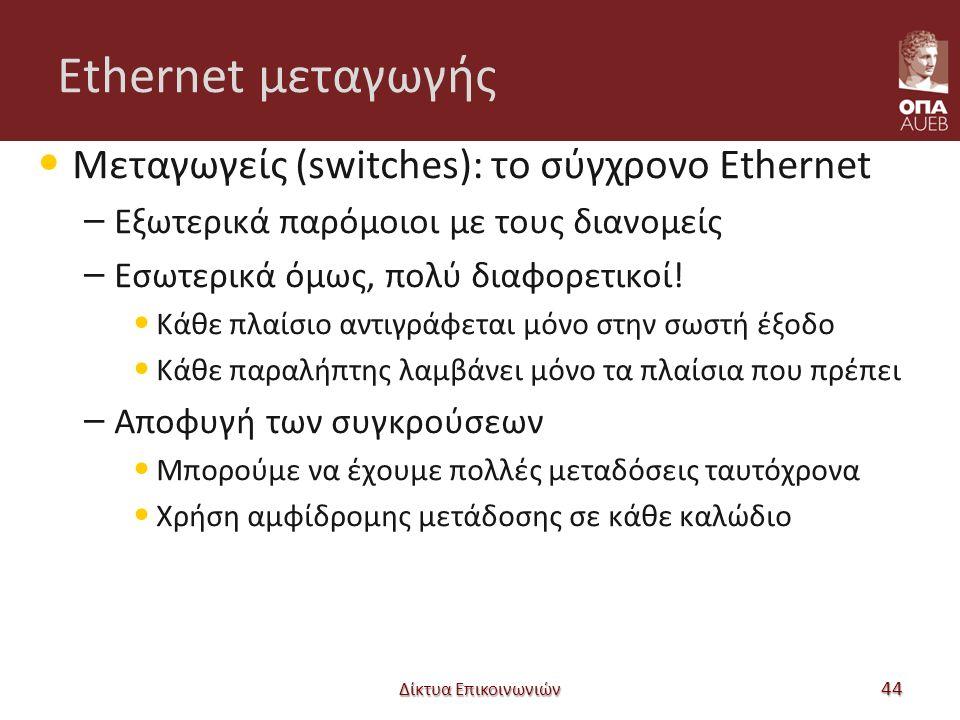 Ethernet μεταγωγής Μεταγωγείς (switches): το σύγχρονο Ethernet – Εξωτερικά παρόμοιοι με τους διανομείς – Εσωτερικά όμως, πολύ διαφορετικοί! Κάθε πλαίσ