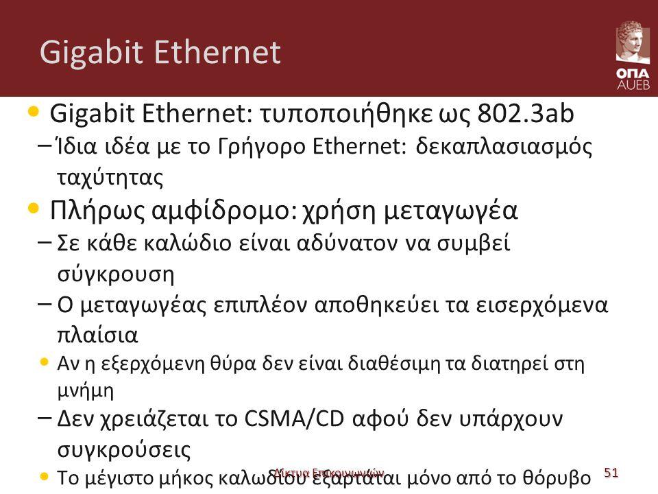 Gigabit Ethernet Gigabit Ethernet: τυποποιήθηκε ως 802.3ab – Ίδια ιδέα με το Γρήγορο Ethernet: δεκαπλασιασμός ταχύτητας Πλήρως αμφίδρομο: χρήση μεταγωγέα – Σε κάθε καλώδιο είναι αδύνατον να συμβεί σύγκρουση – Ο μεταγωγέας επιπλέον αποθηκεύει τα εισερχόμενα πλαίσια Αν η εξερχόμενη θύρα δεν είναι διαθέσιμη τα διατηρεί στη μνήμη – Δεν χρειάζεται το CSMA/CD αφού δεν υπάρχουν συγκρούσεις Το μέγιστο μήκος καλωδίου εξαρτάται μόνο από το θόρυβο Δίκτυα Επικοινωνιών 51