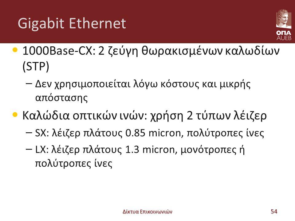 Gigabit Ethernet 1000Base-CX: 2 ζεύγη θωρακισμένων καλωδίων (STP) – Δεν χρησιμοποιείται λόγω κόστους και μικρής απόστασης Καλώδια οπτικών ινών: χρήση 2 τύπων λέιζερ – SX: λέιζερ πλάτους 0.85 micron, πολύτροπες ίνες – LX: λέιζερ πλάτους 1.3 micron, μονότροπες ή πολύτροπες ίνες Δίκτυα Επικοινωνιών 54