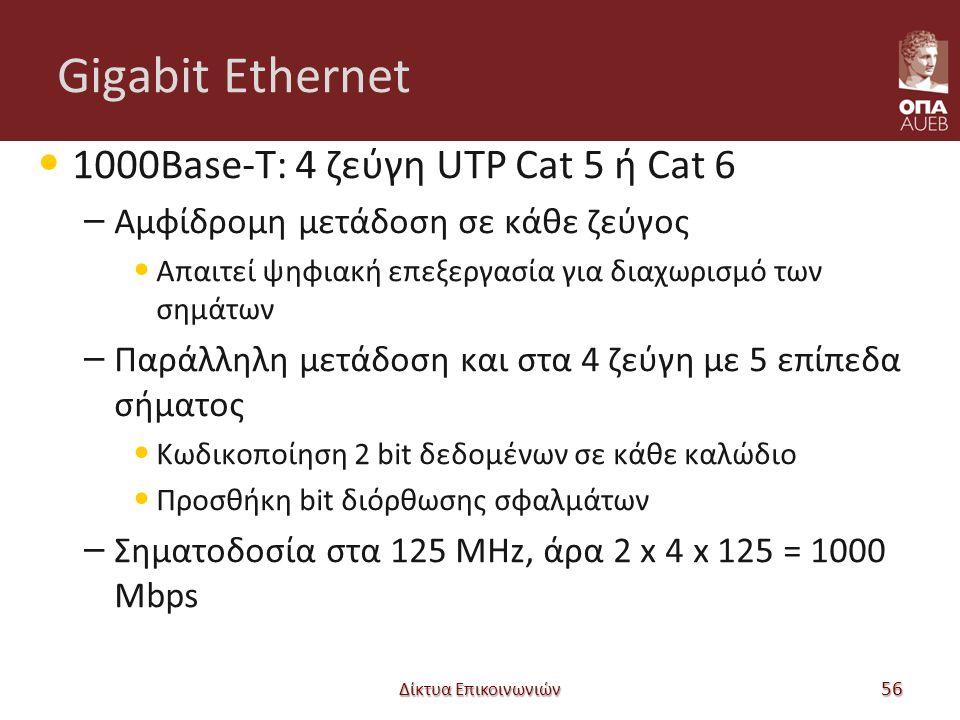 Gigabit Ethernet 1000Base-T: 4 ζεύγη UTP Cat 5 ή Cat 6 – Αμφίδρομη μετάδοση σε κάθε ζεύγος Απαιτεί ψηφιακή επεξεργασία για διαχωρισμό των σημάτων – Παράλληλη μετάδοση και στα 4 ζεύγη με 5 επίπεδα σήματος Κωδικοποίηση 2 bit δεδομένων σε κάθε καλώδιο Προσθήκη bit διόρθωσης σφαλμάτων – Σηματοδοσία στα 125 MHz, άρα 2 x 4 x 125 = 1000 Mbps Δίκτυα Επικοινωνιών 56