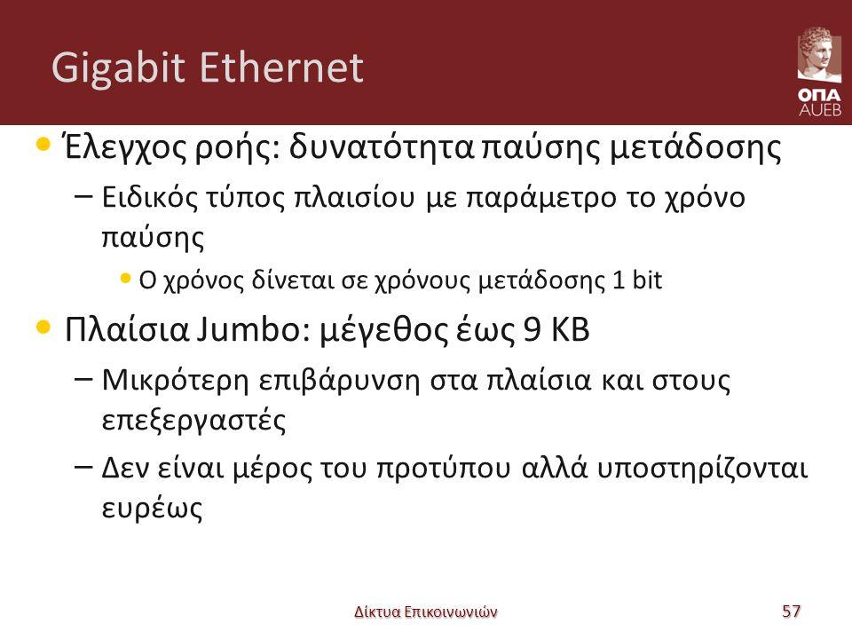 Gigabit Ethernet Έλεγχος ροής: δυνατότητα παύσης μετάδοσης – Ειδικός τύπος πλαισίου με παράμετρο το χρόνο παύσης Ο χρόνος δίνεται σε χρόνους μετάδοσης 1 bit Πλαίσια Jumbo: μέγεθος έως 9 KB – Μικρότερη επιβάρυνση στα πλαίσια και στους επεξεργαστές – Δεν είναι μέρος του προτύπου αλλά υποστηρίζονται ευρέως Δίκτυα Επικοινωνιών 57