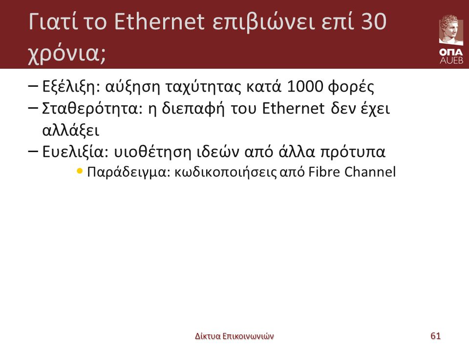 Γιατί το Ethernet επιβιώνει επί 30 χρόνια; – Εξέλιξη: αύξηση ταχύτητας κατά 1000 φορές – Σταθερότητα: η διεπαφή του Ethernet δεν έχει αλλάξει – Ευελιξία: υιοθέτηση ιδεών από άλλα πρότυπα Παράδειγμα: κωδικοποιήσεις από Fibre Channel Δίκτυα Επικοινωνιών 61