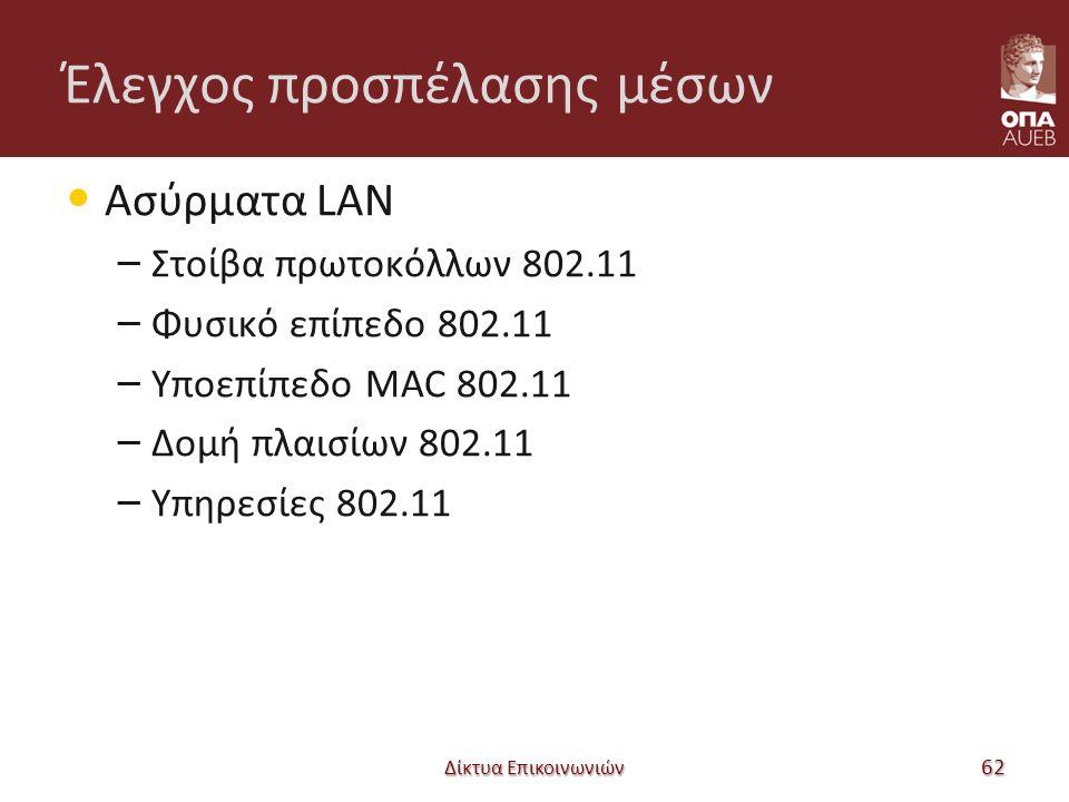 Έλεγχος προσπέλασης μέσων Ασύρματα LAN – Στοίβα πρωτοκόλλων 802.11 – Φυσικό επίπεδο 802.11 – Υποεπίπεδο MAC 802.11 – Δομή πλαισίων 802.11 – Υπηρεσίες 802.11 Δίκτυα Επικοινωνιών 62