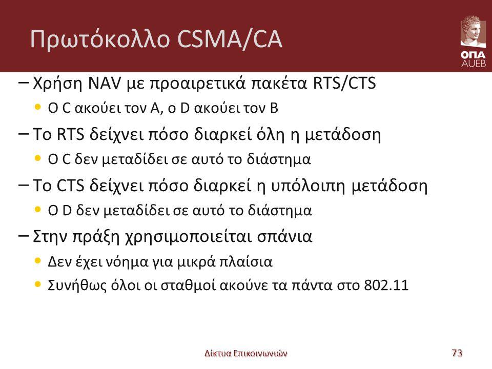 Πρωτόκολλο CSMA/CA – Χρήση NAV με προαιρετικά πακέτα RTS/CTS Ο C ακούει τον A, ο D ακούει τον B – Το RTS δείχνει πόσο διαρκεί όλη η μετάδοση Ο C δεν μεταδίδει σε αυτό το διάστημα – Το CTS δείχνει πόσο διαρκεί η υπόλοιπη μετάδοση Ο D δεν μεταδίδει σε αυτό το διάστημα – Στην πράξη χρησιμοποιείται σπάνια Δεν έχει νόημα για μικρά πλαίσια Συνήθως όλοι οι σταθμοί ακούνε τα πάντα στο 802.11 Δίκτυα Επικοινωνιών 73