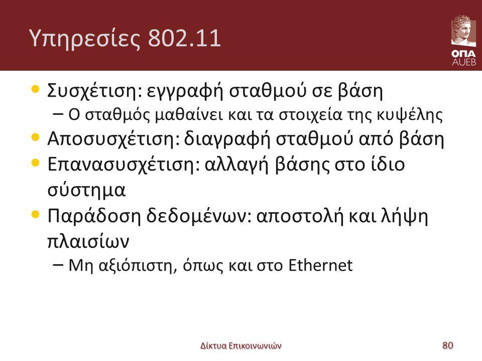Υπηρεσίες 802.11 Συσχέτιση: εγγραφή σταθμού σε βάση – Ο σταθμός μαθαίνει και τα στοιχεία της κυψέλης Αποσυσχέτιση: διαγραφή σταθμού από βάση Επανασυσχέτιση: αλλαγή βάσης στο ίδιο σύστημα Παράδοση δεδομένων: αποστολή και λήψη πλαισίων – Μη αξιόπιστη, όπως και στο Ethernet Δίκτυα Επικοινωνιών 80
