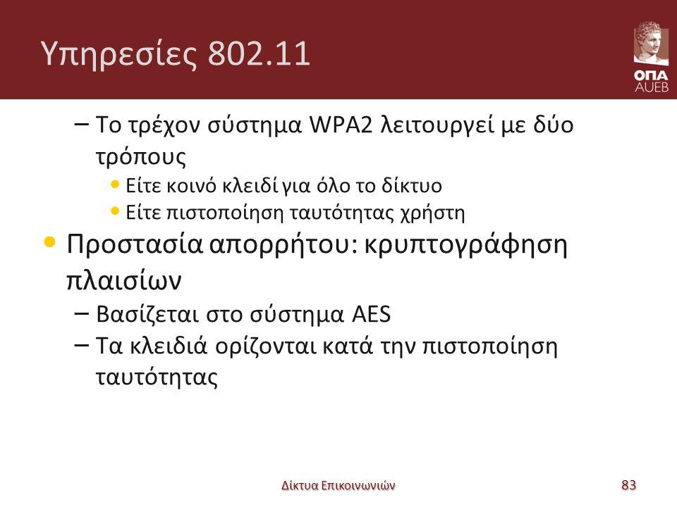 Υπηρεσίες 802.11 – Το τρέχον σύστημα WPA2 λειτουργεί με δύο τρόπους Είτε κοινό κλειδί για όλο το δίκτυο Είτε πιστοποίηση ταυτότητας χρήστη Προστασία απορρήτου: κρυπτογράφηση πλαισίων – Βασίζεται στο σύστημα AES – Τα κλειδιά ορίζονται κατά την πιστοποίηση ταυτότητας Δίκτυα Επικοινωνιών 83