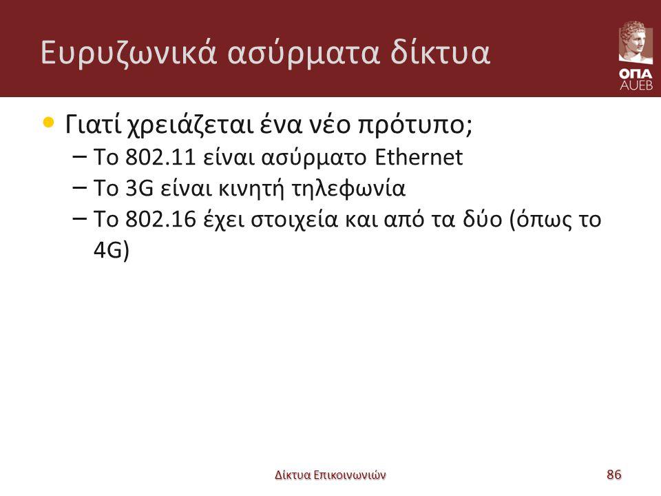Ευρυζωνικά ασύρματα δίκτυα Γιατί χρειάζεται ένα νέο πρότυπο; – To 802.11 είναι ασύρματο Ethernet – Το 3G είναι κινητή τηλεφωνία – Το 802.16 έχει στοιχεία και από τα δύο (όπως το 4G) Δίκτυα Επικοινωνιών 86