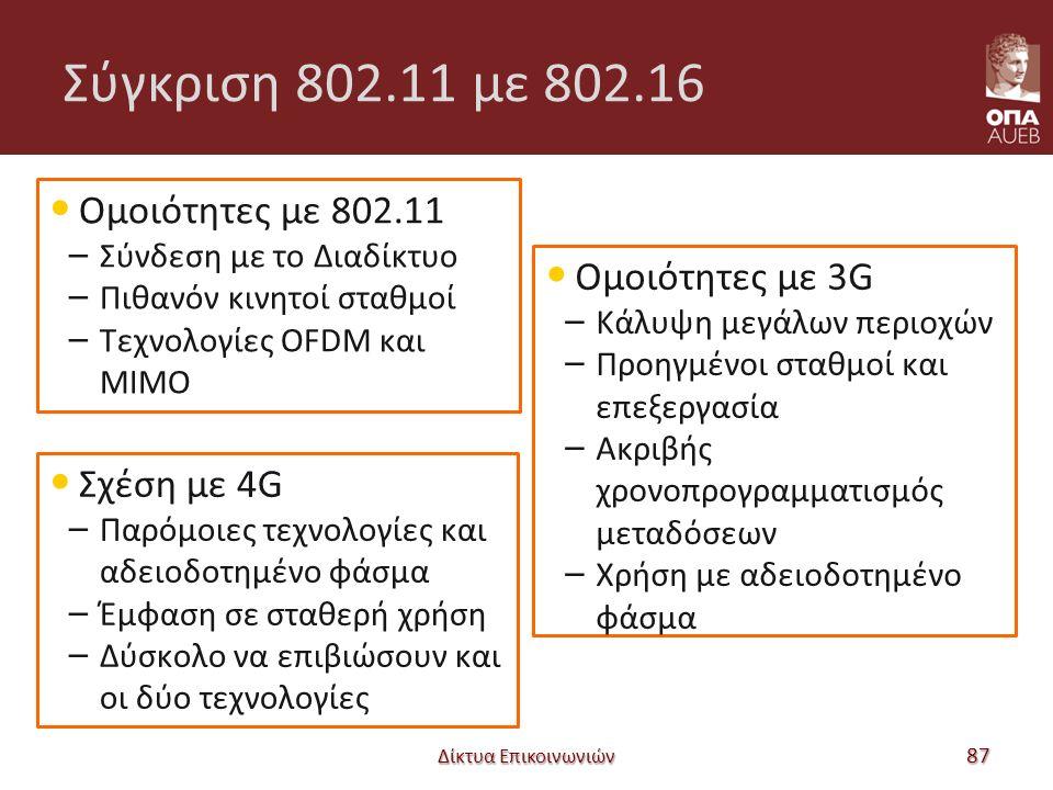 Σύγκριση 802.11 με 802.16 Ομοιότητες με 802.11 – Σύνδεση με το Διαδίκτυο – Πιθανόν κινητοί σταθμοί – Τεχνολογίες OFDM και MIMO Δίκτυα Επικοινωνιών 87 Ομοιότητες με 3G – Κάλυψη μεγάλων περιοχών – Προηγμένοι σταθμοί και επεξεργασία – Ακριβής χρονοπρογραμματισμός μεταδόσεων – Χρήση με αδειοδοτημένο φάσμα Σχέση με 4G – Παρόμοιες τεχνολογίες και αδειοδοτημένο φάσμα – Έμφαση σε σταθερή χρήση – Δύσκολο να επιβιώσουν και οι δύο τεχνολογίες