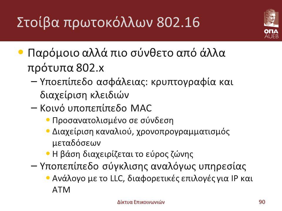 Στοίβα πρωτοκόλλων 802.16 Παρόμοιο αλλά πιο σύνθετο από άλλα πρότυπα 802.x – Υποεπίπεδο ασφάλειας: κρυπτογραφία και διαχείριση κλειδιών – Κοινό υποπεπίπεδο MAC Προσανατολισμένο σε σύνδεση Διαχείριση καναλιού, χρονοπρογραμματισμός μεταδόσεων Η βάση διαχειρίζεται το εύρος ζώνης – Υποπεπίπεδο σύγκλισης αναλόγως υπηρεσίας Ανάλογο με το LLC, διαφορετικές επιλογές για IP και ATM Δίκτυα Επικοινωνιών 90