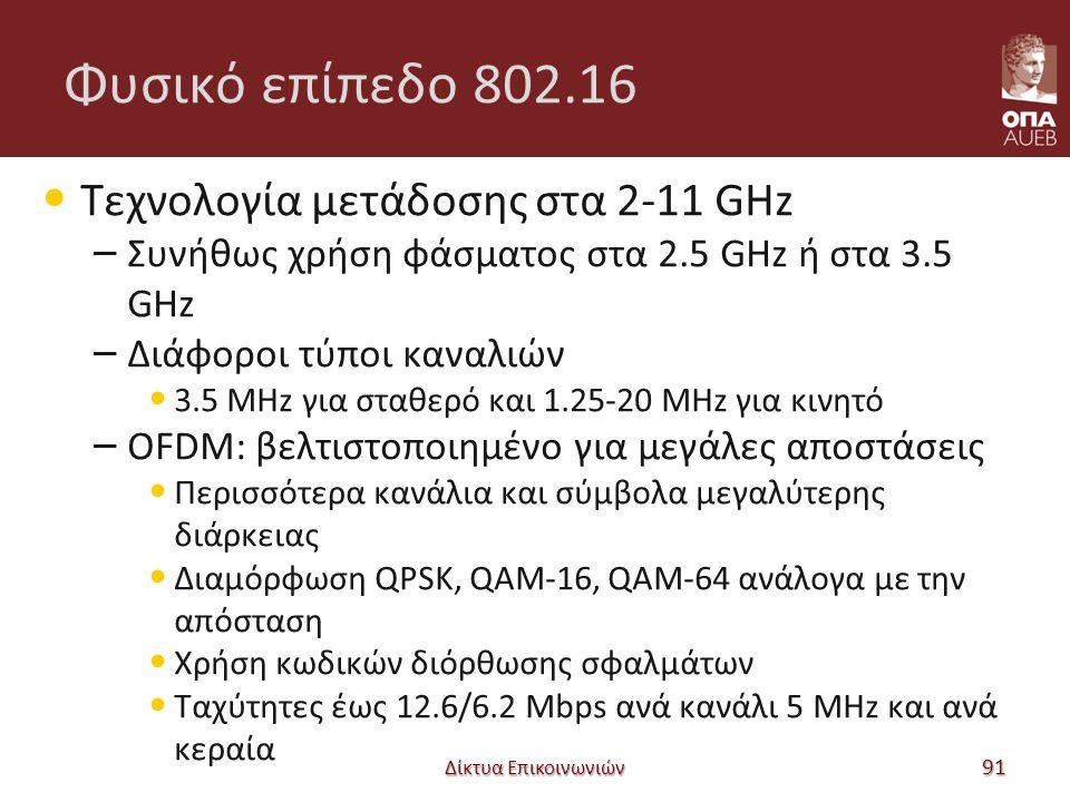 Φυσικό επίπεδο 802.16 Τεχνολογία μετάδοσης στα 2-11 GHz – Συνήθως χρήση φάσματος στα 2.5 GHz ή στα 3.5 GHz – Διάφοροι τύποι καναλιών 3.5 MHz για σταθερό και 1.25-20 MHz για κινητό – OFDM: βελτιστοποιημένο για μεγάλες αποστάσεις Περισσότερα κανάλια και σύμβολα μεγαλύτερης διάρκειας Διαμόρφωση QPSK, QAM-16, QAM-64 ανάλογα με την απόσταση Χρήση κωδικών διόρθωσης σφαλμάτων Ταχύτητες έως 12.6/6.2 Mbps ανά κανάλι 5 MHz και ανά κεραία Δίκτυα Επικοινωνιών 91