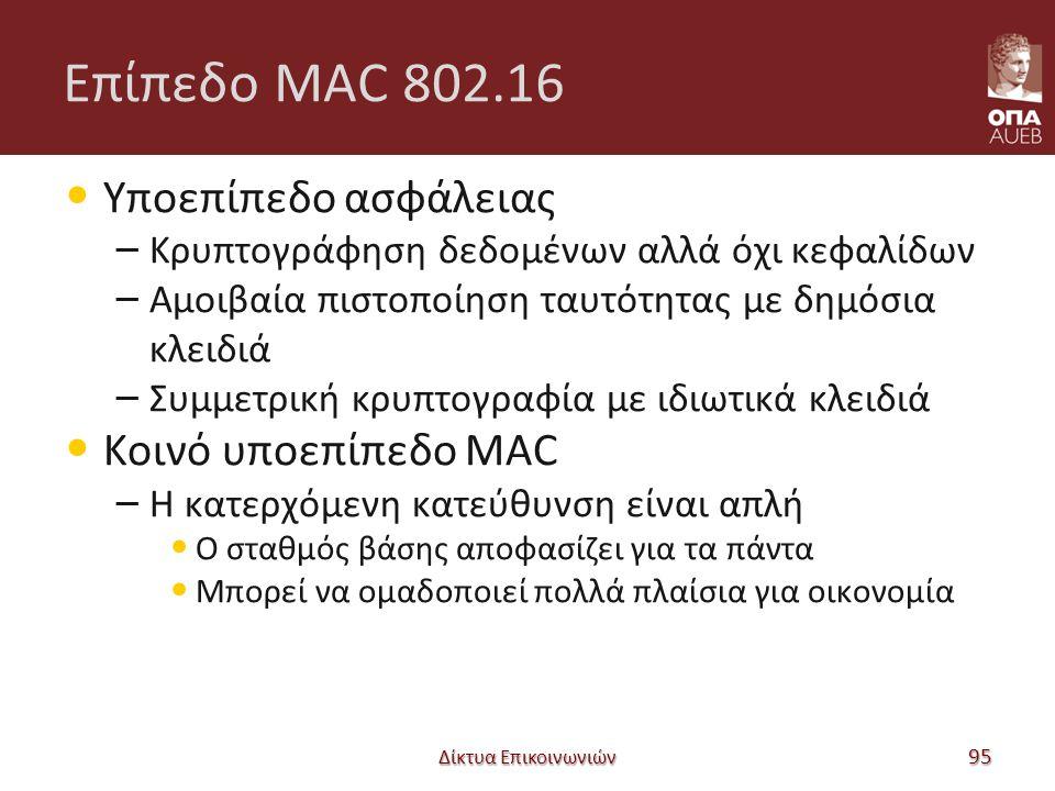 Επίπεδο MAC 802.16 Υποεπίπεδο ασφάλειας – Κρυπτογράφηση δεδομένων αλλά όχι κεφαλίδων – Αμοιβαία πιστοποίηση ταυτότητας με δημόσια κλειδιά – Συμμετρική κρυπτογραφία με ιδιωτικά κλειδιά Κοινό υποεπίπεδο MAC – Η κατερχόμενη κατεύθυνση είναι απλή Ο σταθμός βάσης αποφασίζει για τα πάντα Μπορεί να ομαδοποιεί πολλά πλαίσια για οικονομία Δίκτυα Επικοινωνιών 95