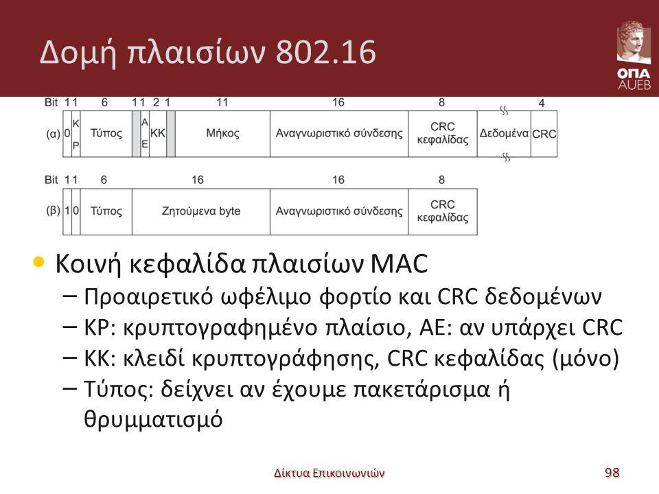 Δομή πλαισίων 802.16 Κοινή κεφαλίδα πλαισίων MAC – Προαιρετικό ωφέλιμο φορτίο και CRC δεδομένων – ΚΡ: κρυπτογραφημένο πλαίσιο, ΑΕ: αν υπάρχει CRC – ΚK: κλειδί κρυπτογράφησης, CRC κεφαλίδας (μόνο) – Τύπος: δείχνει αν έχουμε πακετάρισμα ή θρυμματισμό Δίκτυα Επικοινωνιών 98