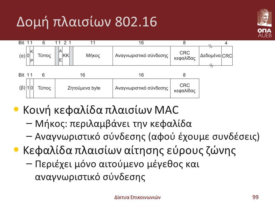Δομή πλαισίων 802.16 Κοινή κεφαλίδα πλαισίων MAC – Μήκος: περιλαμβάνει την κεφαλίδα – Αναγνωριστικό σύνδεσης (αφού έχουμε συνδέσεις) Κεφαλίδα πλαισίων αίτησης εύρους ζώνης – Περιέχει μόνο αιτούμενο μέγεθος και αναγνωριστικό σύνδεσης Δίκτυα Επικοινωνιών 99