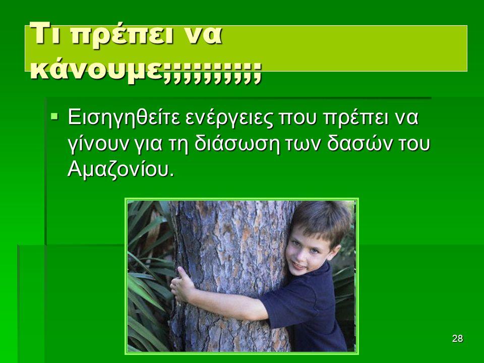 28 Τι πρέπει να κάνουμε;;;;;;;;;;  Εισηγηθείτε ενέργειες που πρέπει να γίνουν για τη διάσωση των δασών του Αμαζονίου.